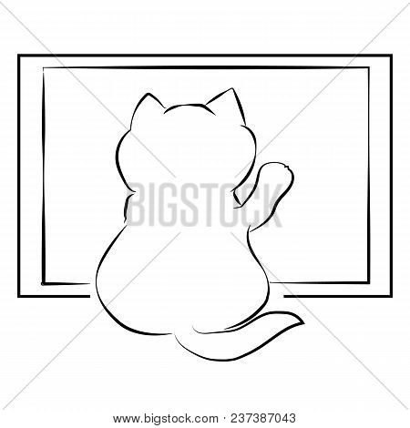 Vector Black Outline Drawing Cute Fat Cat Sitting Back Near The Window. Kitten In Anticipation Of Th