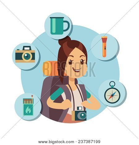 Flat Tourist Character With Tourism Accessories. Travel Infographic Icons. Tourism Summer, Girl Adve