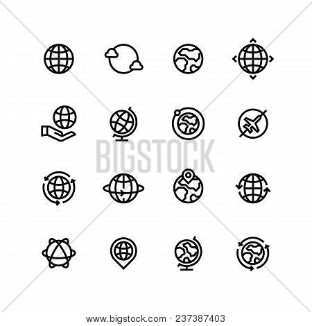 Global World, Globe Outline Icons. Earth, Map And Travel Simple Line Vector Symbols. Illustration Of