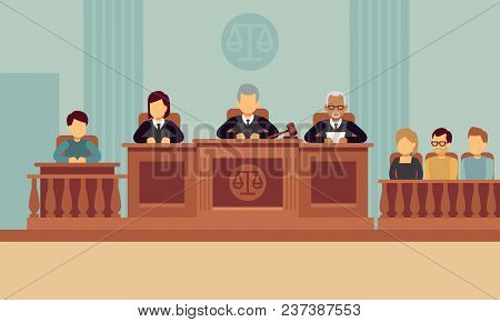 Courtroom Interior With Judges And Lawyer. Justice And Law Vector Concept. Justice And Lawyer, Court