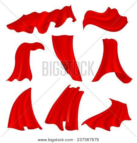 Realistic Billowing Red Satin Cloth Isolated On Transparent Background. Fluttering Fabric Scarlet Cu