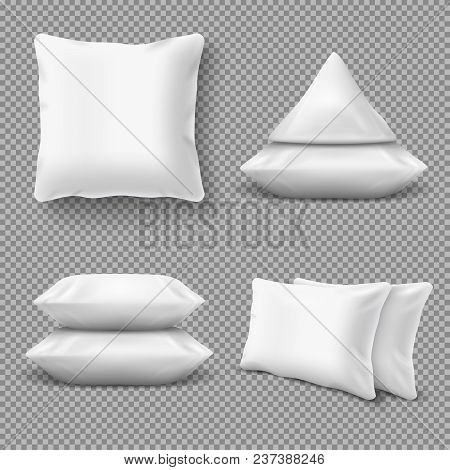 Realistic White Comfortable Pillows, Home Cushions With Natural Feather. Isolated Vector Mockup For