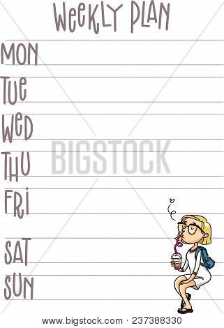 My Goals Daily, Weekly, Monthly Planner. Vector Printable Organizer Page With Cute Cartoon Character