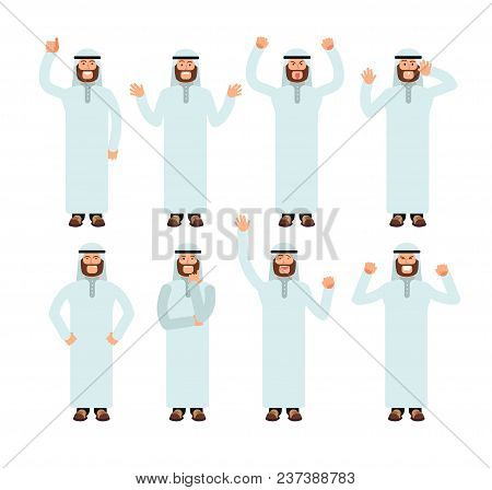 Arab Man Standing With Different Hand Gestures And Face Emotions. Male Muslim Vector Characters Set.