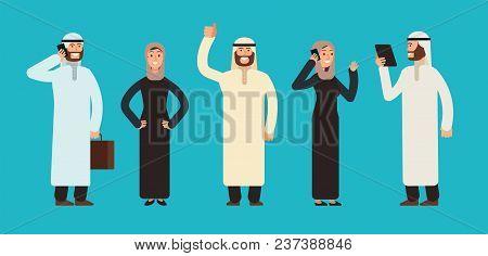 Arabic Businesswomen And Businessmen Group. Arab Business People Team Vector Cartoon Characters Set.