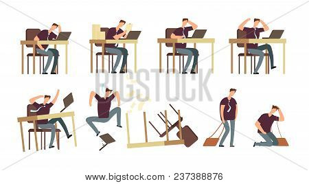 Unhappy Businessman In Office. Angry, Upset And Stressed Persons, Employees Vector Characters Isolat