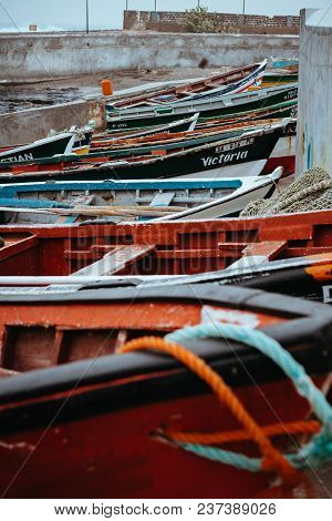 Santo Antao Island, Cape Verde - December 23, 2017: Colored Local Fishing Boats Along The Old Fishin