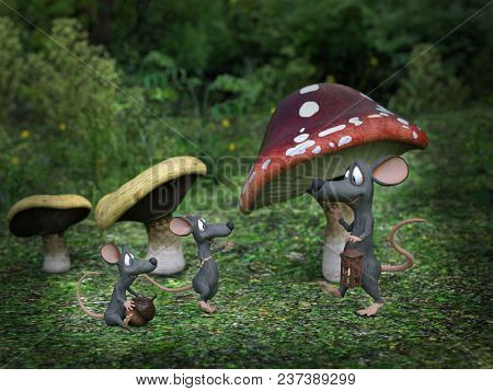 3d Rendering Of Cartoon Mouse Daddy Being Greeted By His Mice Kids At Night In A Fairytale Toadstool