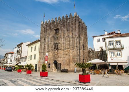 Ponte De Lima, Portugal - Circa April 2018:  View Of The Medieval Tower Of The Old Jail Built In The