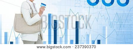 Woman shopping with card with bags and charts and statistics transition