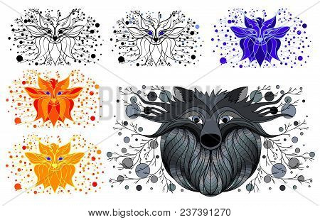 Decorative Picture Fox And Wolf. Coloring Fox And Wolf