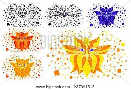 Stylized Fox. Figure Fox Line. Fairy Tale Illustration