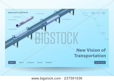 Isometric Hyperloop Transport Concept. Vector Illustration With Future Transportation And The Fastes