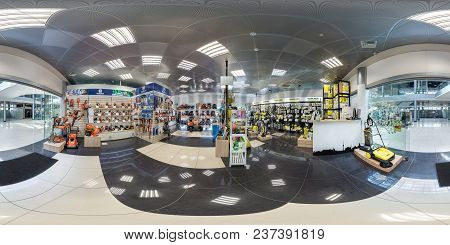 Minsk, Belarus - April, 2017: Panorama 360 Angle View In Interior Elite Luxury Store Of Electric Gar