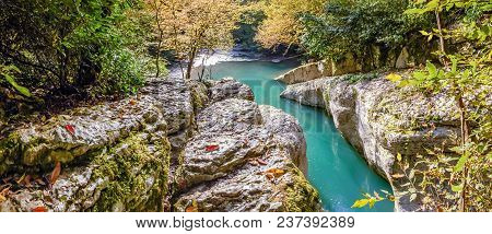 Navalischensky Canyon In The Gorge Of The Khosta River In Autumn. Neighborhood Of Sochi, Russia.