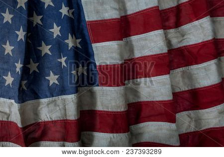 Authentic american national flag used and worn