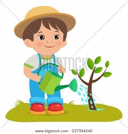 Growing Young Gardener. Cute Cartoon Boy With Watering Can. Young Farmer Working In The Garden. Gard