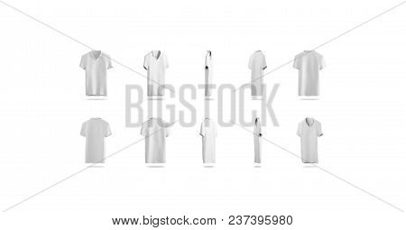 Blank White Polo Rotation Different Sides, Isolated, 3d Rendering. Empty Sport T-shirt Uniform Mocku