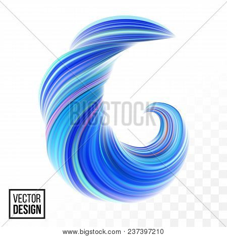 Abstract Vector Digital Color Paint Background. Creative Vivid 3D Flow Fluid Paint Wave. Trendy Blue