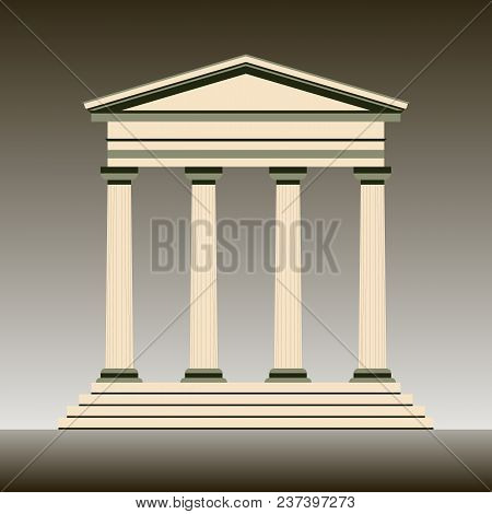 Vector Illustration Of A Graphic Symbol Of Ancient Architecture And Attractions. Stylized Museum Bui