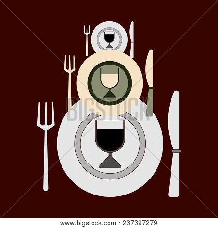 Plates, Forks, Knives And Glasses Of Different Sizes For Changing Dishes On A Dark Background. Flat