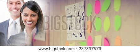 Business woman smiling with blurry sticky notes transition