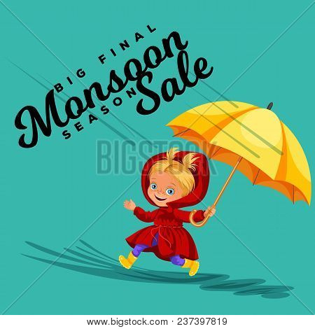 Children Walking Under Raining Sky With An Umbrella, Drops Of Rain Are Dripping Into Puddles, Rainin