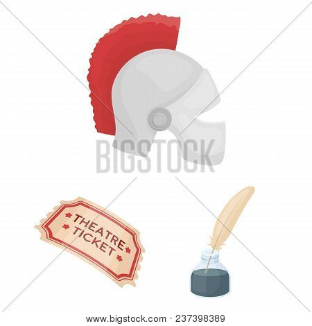 Theatrical Art Cartoon Icons In Set Collection For Design.theater Equipment And Accessories Vector S