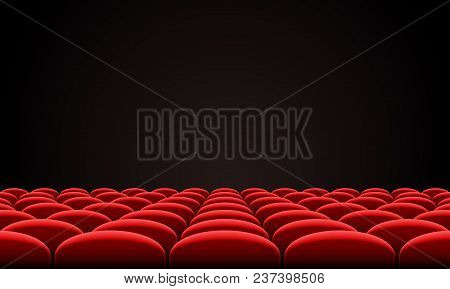 Movie Citema Seat Hall Interior. Vector Theatre Red Seat Chair In Conference Auditorium Room. Row Ci