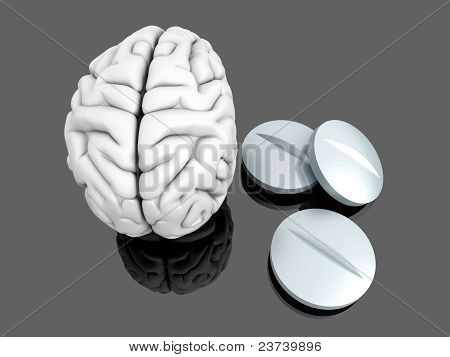 Some pills for the Brain. Symbolic for Drugs Psychopharmaceuticals Nootropics and other Medications. 3d rendered Illustration. poster