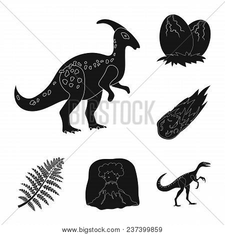 Different Dinosaurs Black Icons In Set Collection For Design. Prehistoric Animal Vector Symbol Stock
