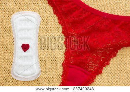 Menstruation Period. Sanitary Menstrual Pad For Woman Hygiene