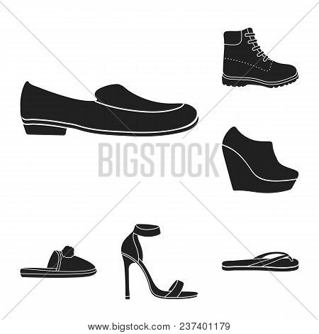 A Variety Of Shoes Black Icons In Set Collection For Design. Boot, Sneakers Vector Symbol Stock  Ill