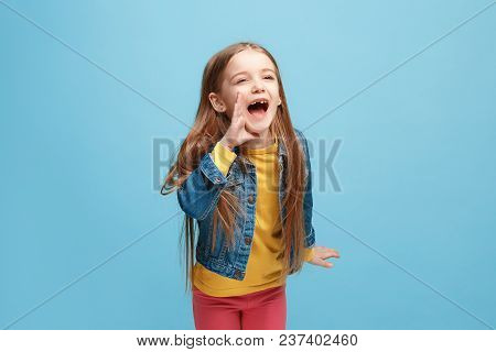 Do Not Miss. Young Casual Teen Girl Shouting. Shout. Crying Emotional Teenager Screaming On Blue Stu