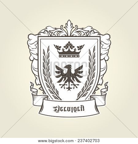 Coat Of Arms With Heraldic Eagle On Shield, Imperial Emblem