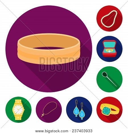 Jewelry And Accessories Flat Icons In Set Collection For Design.decoration Vector Symbol Stock  Illu