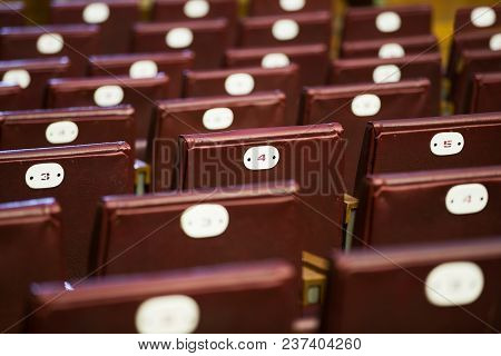 Rows Of Concert Red Chairs Diagonally In The Auditorium