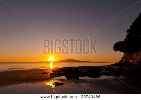 Sunrise over Rangitoto Island