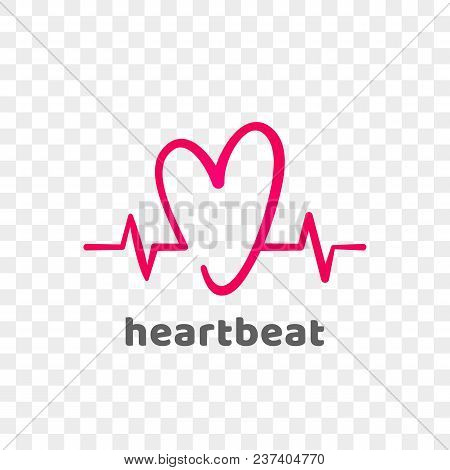 Heart And Heartbeat Logo Vector Icon. Isolated Modern Heart Symbol For Cardiology Medical Center Or