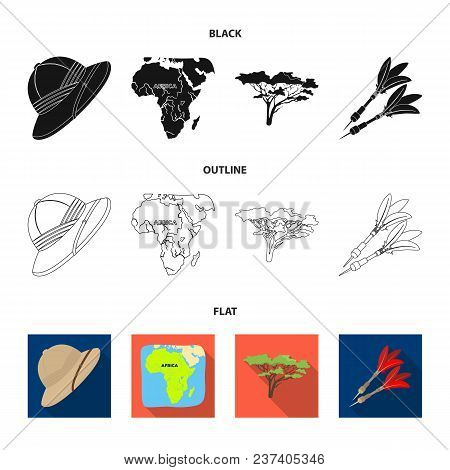 Cork Hat, Darts, Savannah Tree, Territory Map. African Safari Set Collection Icons In Black, Flat, O