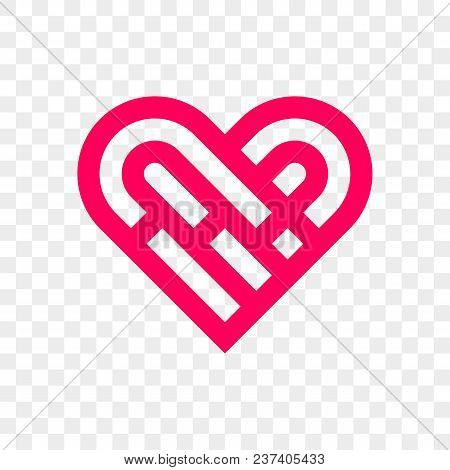 Heart Logo Vector Icon. Isolated Modern Maze Heart Symbol For Cardiology Medical Center Or Charity,