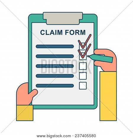 Template Of Claim Form. Flat Vector Cartoon Illustration. Objects Isolated On White Background.