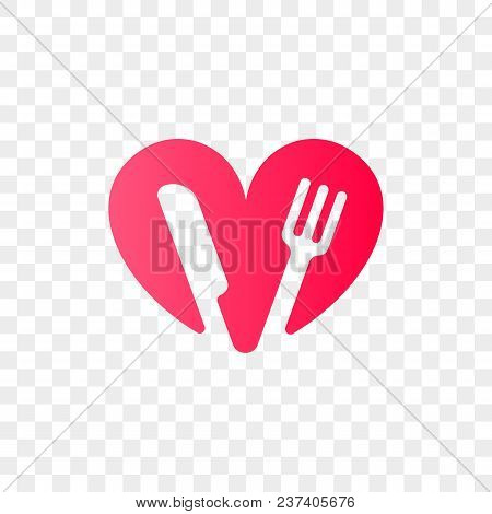 Heart Logo Vector Icon For Healthy Food And Diet Or Vegetarian Nutrition Supplement And Vitamins. Is