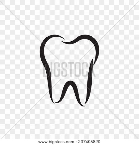 Tooth Logo Icon For Dentist Or Stomatology Dental Care Design Template. Vector Isolated Black Outlin