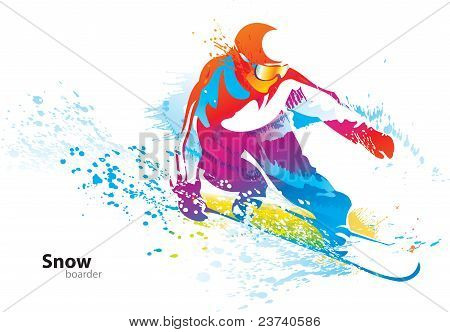 The Colorful Figure Of A Young Man Snowboarding With Drops And Sprays