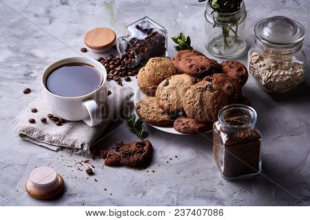 Breakfast Background With Porcelain Mug Of Fresh Black Coffee, Homemade Oatmeal Cookies, Transparent