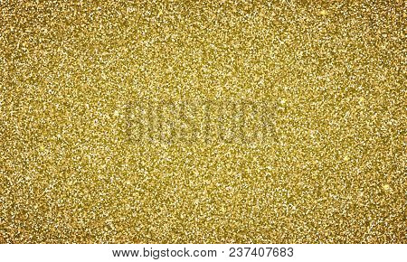 Vector Gold Glitter Background Texture Banner. Magic Glittery Festive Background For Luxury Gift Car