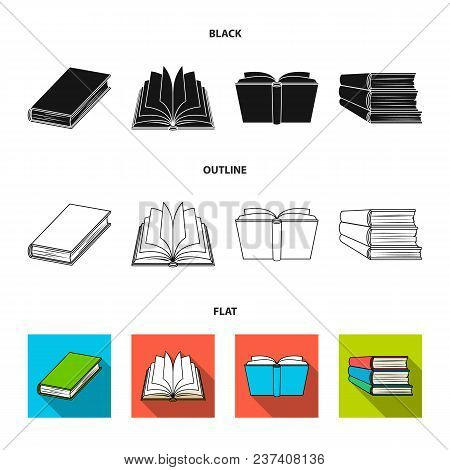 Various Kinds Of Books. Books Set Collection Icons In Black, Flat, Outline Style Vector Symbol Stock