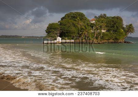 Beautiful Sea View. Small Islet Among The Water. Sri Lanka, Seashore Landscape. Sri Lanka During Sea