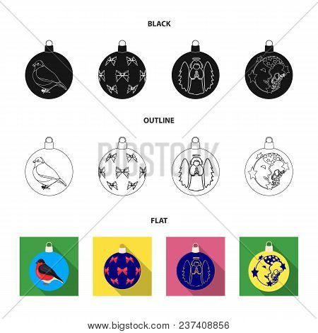 New Year Toys Black, Flat, Outline Icons In Set Collection For Design.christmas Balls For A Treevect